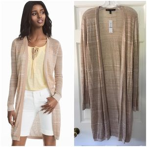 WHBM Sweater Cardigan Duster Toasted Sesame XL